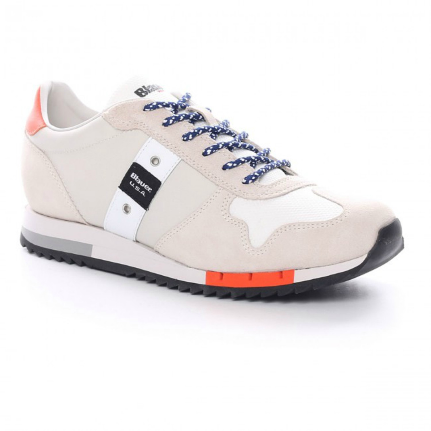 new product 278d6 e448d BLAUER 8SQUINCY01 WHITE SNEAKERS SCAMOSCIATE UOMO