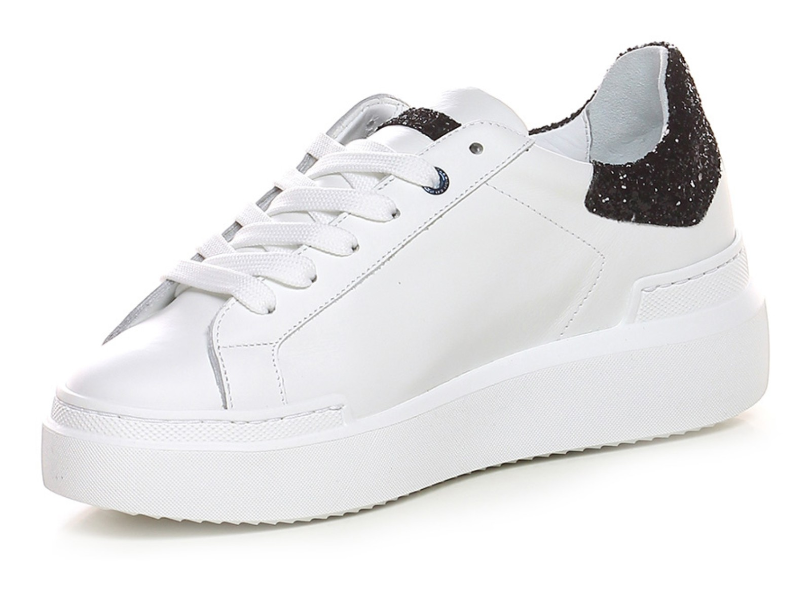 ec0aa41a22 ED PARRISH CKLD SQ11 SNEAKERS SARAH IN PELLE BIANCA CON STRASS NERI